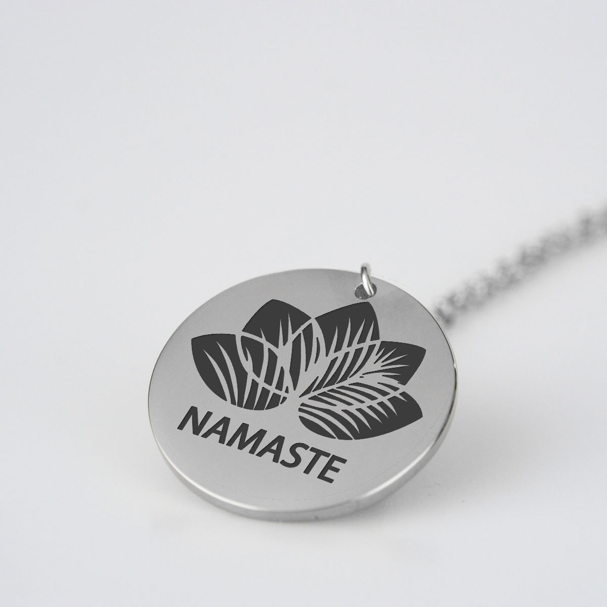 Lotus yoga beach laser engraved pendant necklace beeoux shop lotus yoga beach laser engraved pendant necklace aloadofball Gallery